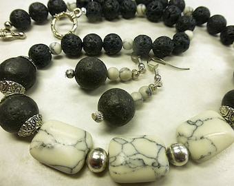 Black lava set with natural turquoise