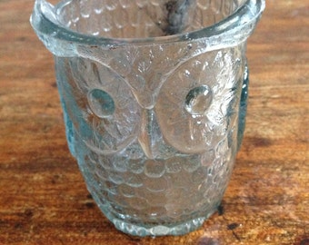 Glass owl candle holder