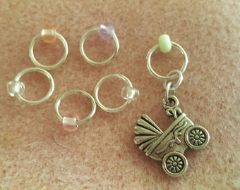6 PC/0-6MM,Knitting Markers,Stitch Markers,SnagFree,Nickel Free,Carriage,Knitting Notion,Knitter,Snag Free Marker,Mixed Glass,Knitting gift,