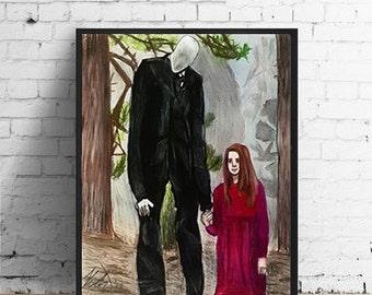 """Slender Art: Slender Man and Little Girl In Woods Artwork- 8.5x11"""" Print-  Scary Horror Video Game Creepypasta Ghost Spirit Creepy"""