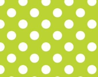 Medium Dots Lime Green, Riley Blake Quilting Fabric, Lime Green Polka Dot