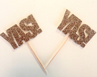 YAS! Cupcake Toppers / Picks, set of 12 - Bachelorette Party & Hen Party Decor - Glitter Party Decor