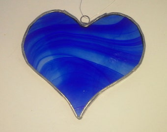 Stained glass blue heart suncatcher