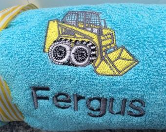 Personalised digger bath towel