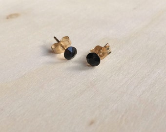 Tiny black earrings, tiny earrings, black earrings, gold filled earrings, minimal earrings, simple earrings, black earrings, black Swarovski