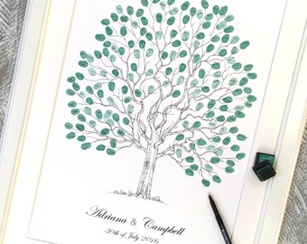"A2 Fingerprint Tree Wedding Guest Book A2 ""Elegant Tree"" + 2 free ink pads & 1 Pen. Personalised with your details. FREE delivery Aust."
