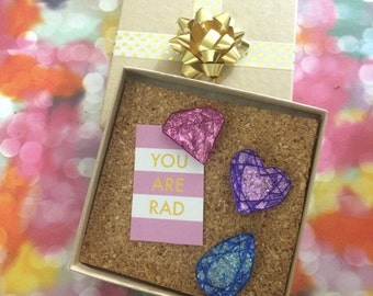 You're a Gem! Glitter Gemstone Pushpin or Magnet  Set