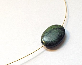 Green/Black Jasper Smooth Oval, Gold Plated Necklace for a sophisticated look.