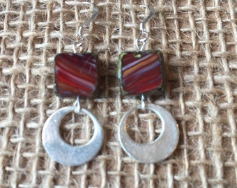 Red Silver Circle Earrings