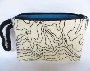 Zion National Park Topography Map Zipper Pouch // Hand Embroidered