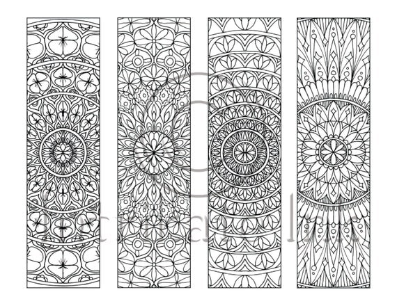 4 Mandala Colouring Bookmarks Set 4 Instant Download