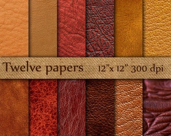 """Leather Digital Paper: """"BROWN LEATHER"""" leather texture , leather background , worn leather , red leather , natural leather"""