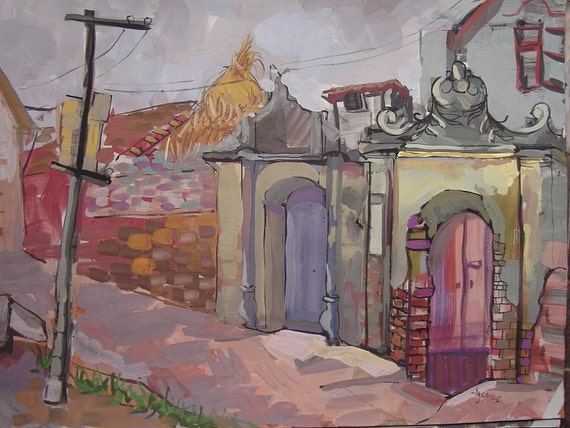 "DUONG LAM ALLEY 20x16"" gouache on paper, live painting, Vietnam village scene, original by Nguyen Ly Phuong Ngoc"
