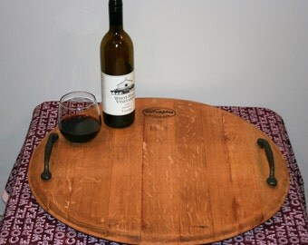 Rotating Tray (i.e. Lazy Susan) Handcrafted from a Virginia Red Wine Barrel. Great centerpiece for any room and a Perfect/Unique Gift!