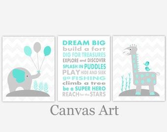 baby boy nursery art teal gray grey aqua elephant giraffe dream big canvas prints baby nursery