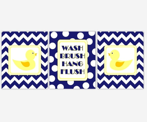 Blue And Yellow Bathroom Decor: Kids Bath Wall Art Navy Blue Yellow Rubber Duck Bathroom Rules