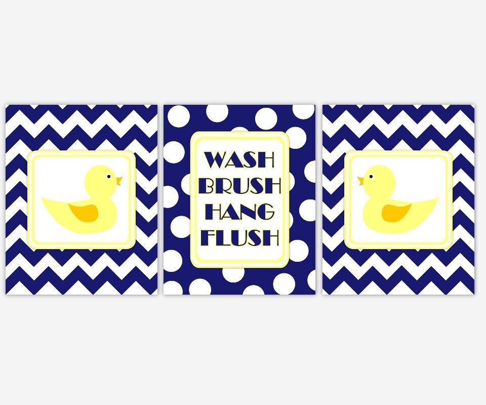 Kids Bath Wall Art CANVAS Navy Blue Yellow Rubber Duck