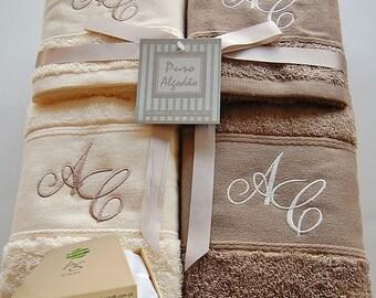 Personalized Monogram Bath Set - Bath sheet, Hand towel, Guest towel - Ref. Chenille