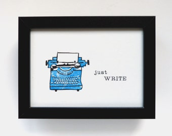 Linioldruck typewriter, mural motivation, linocut hand printed, gift for blogger and hobby authors