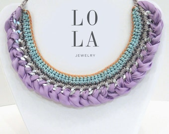 LILAC CROCHET NECKLACE
