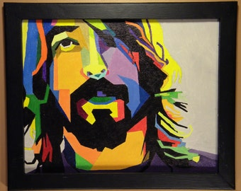 Dave Grohl, foo fighters, legend, my boyfriend, oil painting, multi colored, nirvana,