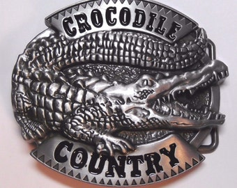 Crocodile Country 3D Name and Gator Metal w/ Pewter Finish Belt Buckle