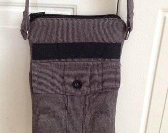 Upcycled 2-Zipper Crossbody Bag