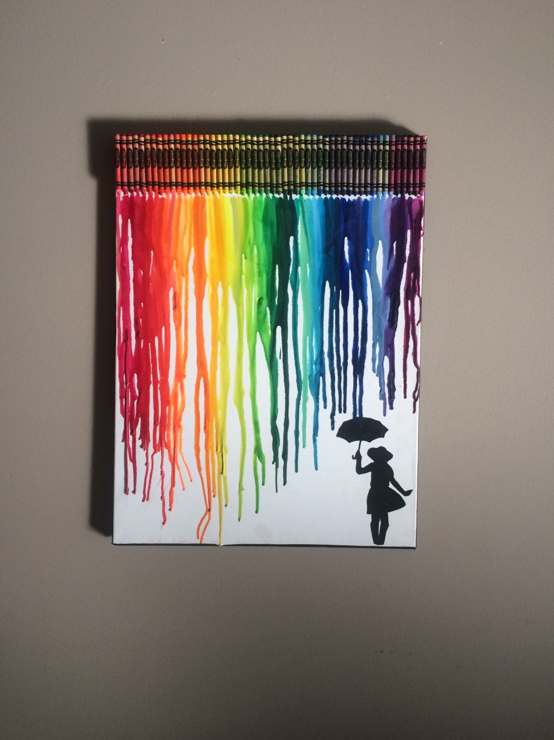 Melted crayon on canvas rainbow painting lgbtq crayola for How to make a melted crayon art canvas