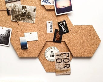 Modular Cork Hexagon Tiles - Set of 3 / Noticeboard / Bulletin Board / Message Board / Home Office / Organization