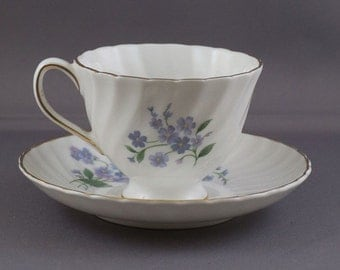 Royal Adderly Ridgway Potteries Forget Me Not Cup and Saucer