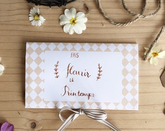 """Handwritten card """"am blossoming spring"""", with seeds and instructions"""