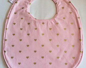 sweetheart bib with pink fleece backing