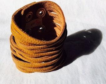 Wide Leather Strips Cuff Bracelet
