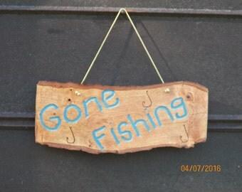 Rustic Reclaimed Live Edge Wood Log Gone Fishing Sign