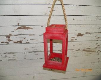 Lantern Bird Feeder, Reclaimed Wood Bird Feeder, Rustic Bird Feeder, Red Bird Feeder