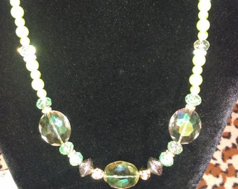 No. 236 Mint and Lite Green Czech Crystals and Pearls Necklace