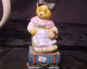 Cute cherrished teddies, made in France  1998 P. Hillman.Trivet with bear on top.Travel case