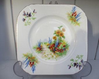 Vintage Art Deco Floral Square Tea Plate