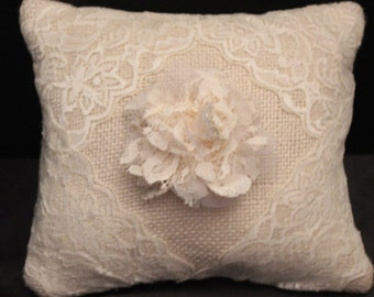 Burlap & Lace Ring Bearer Pillow