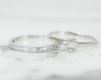 Emerald cut Diamond Engagement Ring  in 14K white gold, Solitaire diamond ring