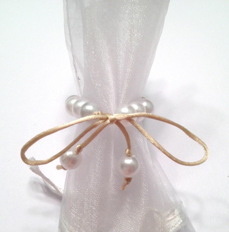 pearl napkin rings wedding napkin rings handmade pearl