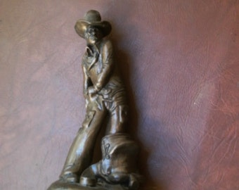 """Vintage 1978 Bronze Chalkware Western Cowboy Sculpture Signed R J Moore 13.5 """" Tall Statue"""