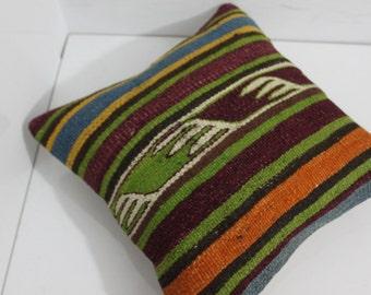 16 x 16 Kilim Pillow Cover Handwoven Vintage Turkish Kilim Pillow Kilim Cushion Cover