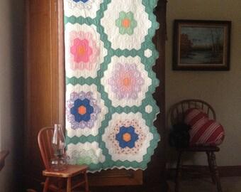 Grandmother's FlowerGarden Antique Pieced Quilt; 1930-40, Green Hexagon Pathways