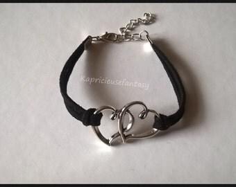 Bracelet black, dual-core, metal silver, suedine