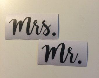 Wedding Decal - Sticker - Mrs. and Mr.