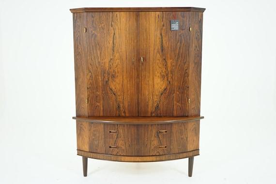 Mid Century Corner Cabinet: 305-143 Danish Mid Century Modern Rosewood By