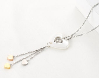 White Ceramic and Stainless Steel Heart Necklace decorated with Crystals