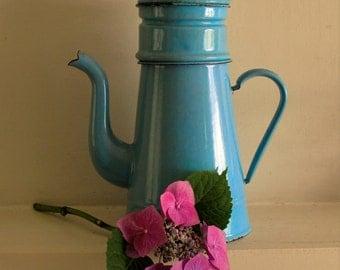 Vintage Tall Blue Clasic French Enamel Coffee Pot