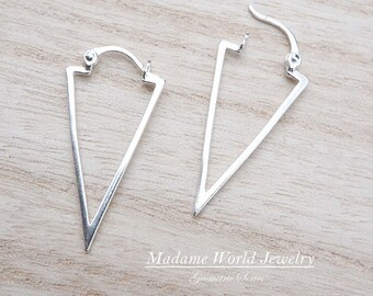 Sterling Silver Inverted Triangle Earrings with Latch Back